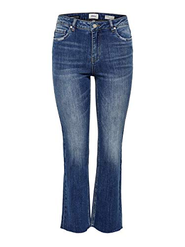 Only Onlkenya Mid Sweet FL Crop DNM Bj14676 Jeans a Zampa, Blu (Dark Blue Denim Dark Blue Denim), 34 /L30 (Taglia Produttore: 25) Donna