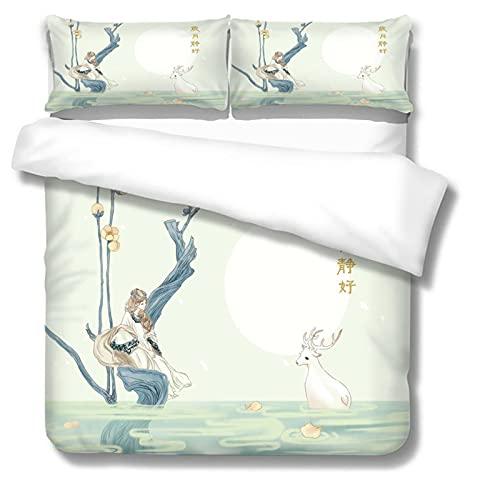 Funda de edredón grande de poliéster con estampado de alce y funda de almohada de cama individual cama doble 3Or2 piezas set multi-tamaño 200 × 240 cm (3 piezas) Elk print