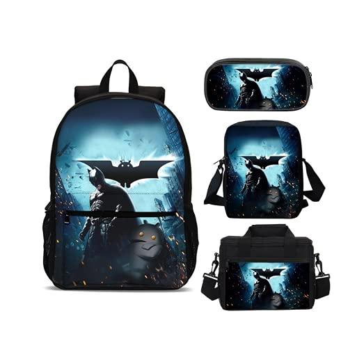 NFBZ Set di 4 zaini Batman, borsa per il pranzo con borsa a tracolla, astuccio per ragazze, college, bambini, ragazzi e viaggi (Batman-10)