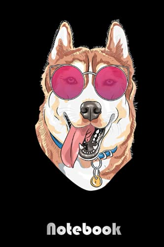 Vintage Husky Dog with 80s 90s Sunglasses Cute Pet 94 Notebook: Blank Wide Lined Workbook for Back to School, Kids, Boys, Girls, School, Students, ... | Creative Dog Cover | 6.5 x 11 in 120 pages