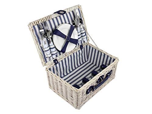 Quantio Weiden Picknick Korb 21-TLG. - für 4 Personen - 31 x 42 x 18,5 cm - blau/weiß gestreift - 4 Porzellan Teller, je 4X Messer, Gabel, Löffel, 4 Gläser