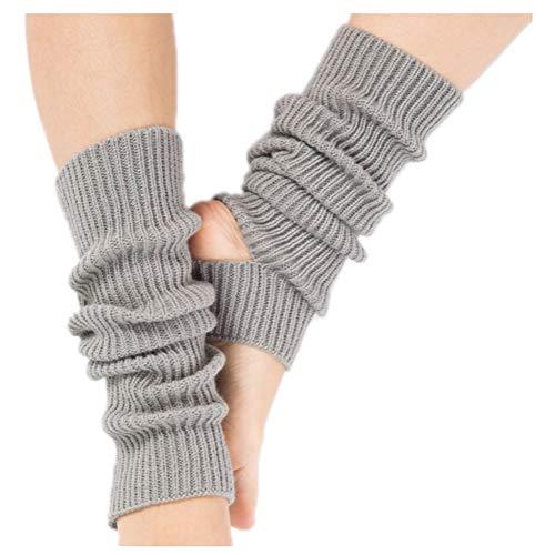 Quner 1 Paar Ballett Stulpen Damen Mädchen Yoga Socken Beinwärmer Legwarmer Tanzstulpen Strickstulpen für Latin,Pilates,Fitness (Hellgrau)