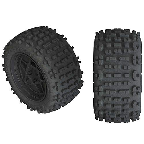 ARRMA Backflip Lp 4S 3.8 Rc Truck Tires with Foam Inserts, Mounted On Multi-Spoke Black Wheels (Set of 2): AR550050