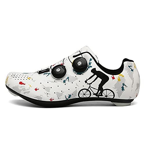 RTY Scarpe da Bici da Strada da Uomo Scarpe da Ciclismo con Tacchetti Compatibili Scarpa Peloton con SPD e Delta per Scarpe da Ciclismo con Pedale di Bloccaggio da Uomo,Bianca,39