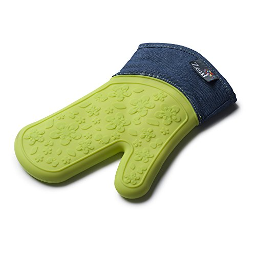 Zeal Silicone Oven Mitt/Glove - Extra Protection - Steam Stop Waterproof - Non-Slip and Heat Resistant to 482F - Green Denim Design