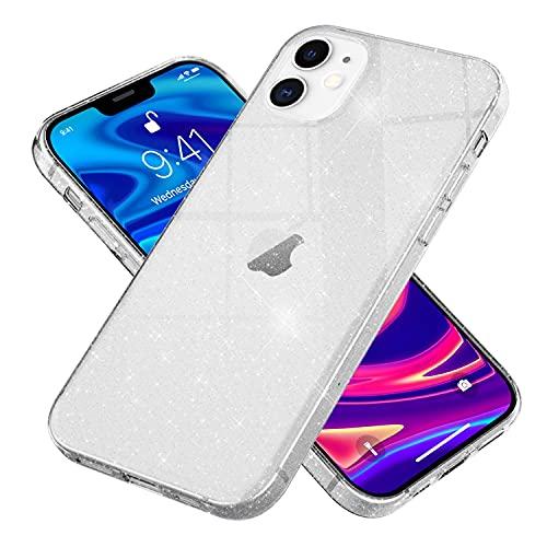 NALIA Glitter Hülle kompatibel mit iPhone 12 / iPhone 12 Pro Hülle, Glitzer Bling Silikon Handyhülle Strass Cover Durchsichtig, Dünne Handy-Tasche Schutzhülle Diamond Phone Etui, Farbe:Transparent