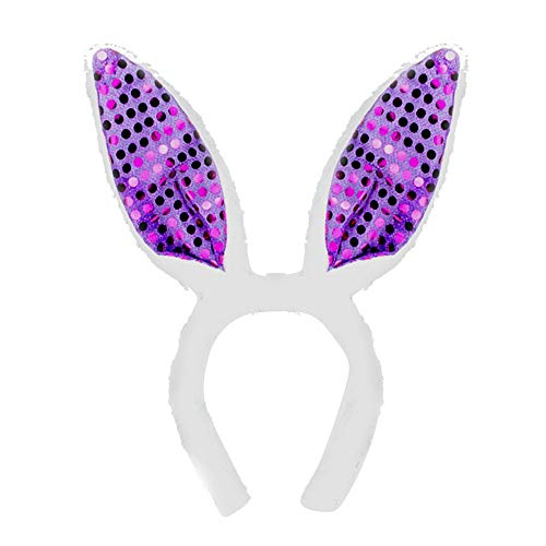 PinkLu Stirnband Damen Osterfest Stirnbandhaarnadel-Kopfbedeckung Mit Pailletten-Hasenohren Elegantes Temperament Mode Neuer HeißEr 7-Farben-Stirnband