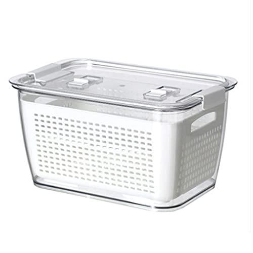 JJZXT Caja de Mantenimiento Fresco Caja de Almacenamiento de Drenaje de Doble Sellado refrigerador Fruta y Caja de Almacenamiento de Drenaje Vegetal con Tapa Caja de Almacenamiento de refrigerador