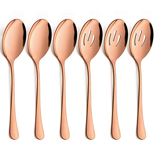 LIANYU 6-Piece Large Copper Serving Spoons, Copper Slotted Serving Spoons, Stainless Steel Serving Utensils for Party Buffet Restaurant Banquet Dinner Catering, Dishwasher Safe