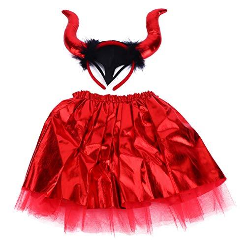BESPORTBLE Disfraz de diablo para Halloween, disfraz de cuerno, disfraz de diablo para nia, para carnaval, vacaciones, fiestas, mscaras, cosplay, accesorio (rojo)