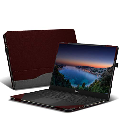"""Honeymoon for 15"""" DELL XPS 15 9575/9550/ 9560/9570 Models Case Cover, PU Leather Folio Stand Protective Laptop Hard Shell Case Compatible for Dell XPS 15.6 Inch,Black"""