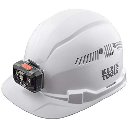 Klein Tools 60113RL Hard Hat, Rechargeable Headlamp, Vented, Cap Style, Padded Self-Wicking Odor-Resistant Sweatband, White