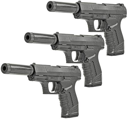 Evil Wear 3 Pack Softair Gun Airsoft Agenten Kleine Federdruck Silencer Pistole mit Schalldämpfer ca. 18cm Inkl Magazin 0,5 Joule