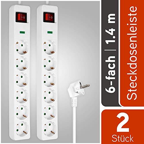 HEITECH 6 fach Steckdosenleiste mit Überspannungsschutz - GS geprüfte Mehrfachsteckdose mit Schalter, Kindersicherung, 1,4 Meter Kabel, 4500A, 3680W - 2er Pack Steckerleiste Mehrfachstecker