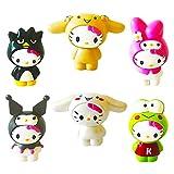 6pcs Hello Kitty Juego de Figuras,Cake Topper,Decoración del Coche,Baby Shower Fiesta de Cumpleaños Pastel Decoración Suministros