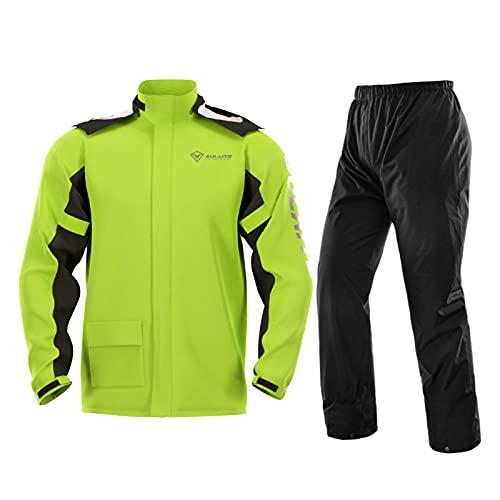 Cyhamse Chubasquero reflectante impermeable y cortavientos con capucha unisex, traje de lluvia al aire libre, escalada, transpirable, traje de lluvia para motocicleta