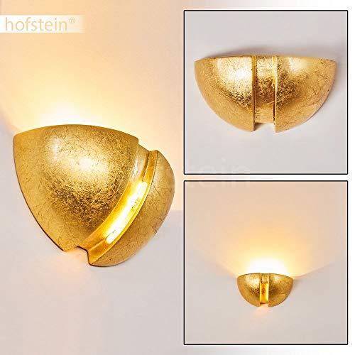 Wandlamp Kawasaki van keramiek in goud, wandlamp met mooie lichtkegel, 1 x E27 fitting max. 60 watt, binnenwerklamp in bladgoud optiek, geschikt voor LED-lampen