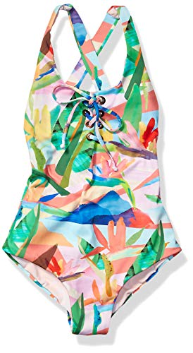 Maaji Girls' Little Lace Up Tie One Piece Swimsuit, Andros Jungle Green Floral, 06