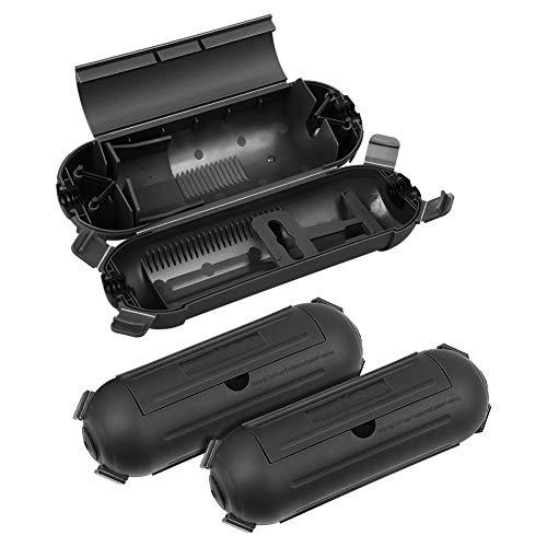 DEWENWILS Safebox mit 4 Klappen, Schutzbox für Kabel bis 9mm, IP44 Sicherheitsbox, 3er Schutzkapsel für Kabel und und Stecker der Feiertagsdekoration, Schwarz