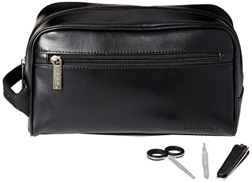 Kenneth Cole REACTION Men's Travel Toiletry Bag Shaving Kit with 3 Piece Manicure Set, black, One Size