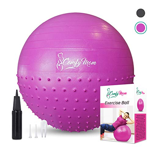 Exercise Ball - Pregnant Workout For Stability With Yoga Ball - Ease Labor And Delivery Through Pregnancy Exercise - Relieve Back Pain With Anti-burst Birthing Ball, Air Pump Included (Pink/75cm)
