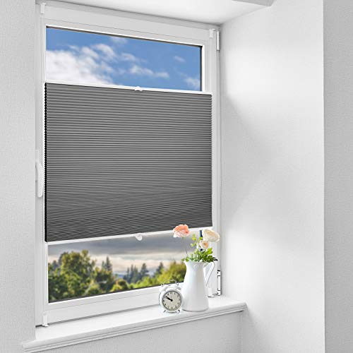 HOMEDEMO Wabenplissee Klemmfix Verdunkelung Thermo Plisseerollo mit Klemmträger (Weiß-Grau, 70x130cm), Zweifarbig plisseerollo 100% Verdunklung, Sichtschutz und Sonnenschutz für Fenster und Tür