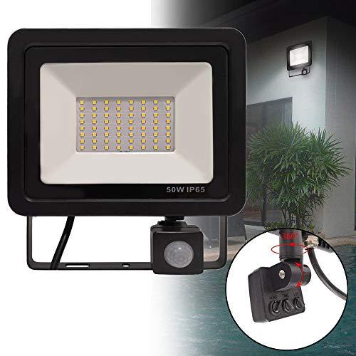 50W LED Fluter mit Bewegungsmelder 3 modi - LED Strahler IP65 wasserdicht Aluminium Scheinwerfer Licht - für Garten, Garage, Hof oder Hote, Warmweiß