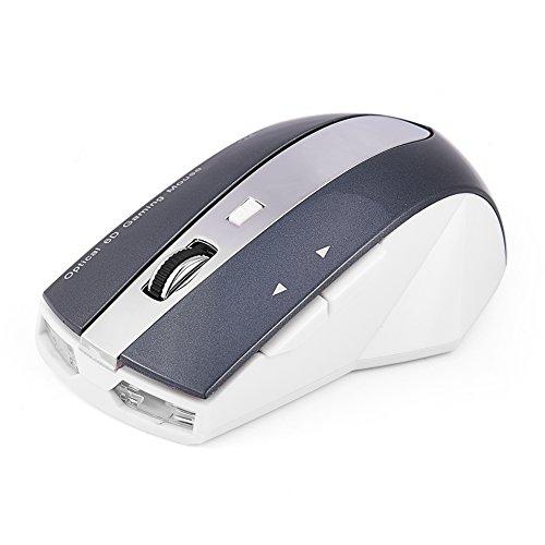 Tihebeyan Draadloze gaming-muis, draadloos, oplaadbaar, 2,4 GHz, met laadstation met 3 USB-poorten, Wit + Grijs