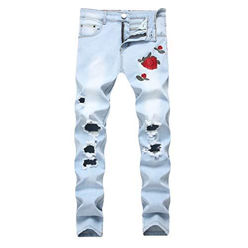 Beastle Pantalones Vaqueros para Hombre Nueva Personalidad Europea y Americana Pantalones elásticos de Gran tamaño de Mezclilla Bordados de Moda Rasgados y Ligeros Ocasionales Ajustados 44