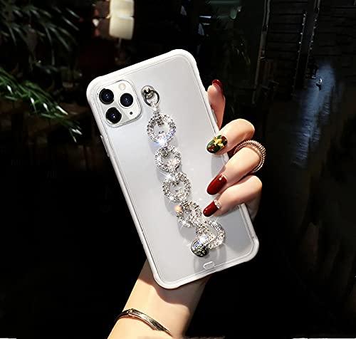 para iPhone 11 Funda con Diamantes de imitación, Pulsera, Cadena, Cristal, Funda para iPhone 11 Pro MAX XR XS 6S 7 8 Plus SE 2020 12 Funda, Blanco, para iPhone 7 Plus