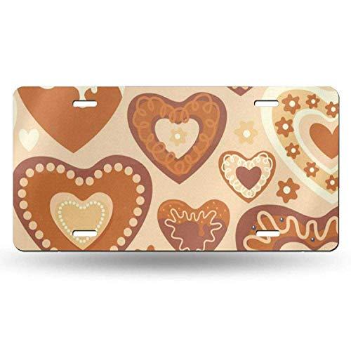 Dom576son License Plate Frame, License Plate Frame Aangepaste Valentijnsdag Snoep Chocolade Hart Liefde U Bruiloft Metalen Tekenen Auto Cover Set Stijlvol voor Auto Decoratie 6
