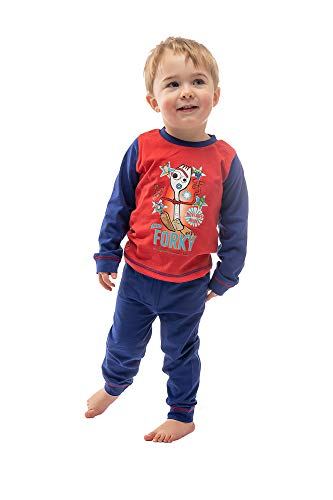 oy Story 4 Jungen Pyjama mit Forky mit Woody, Buzz Lightyear, Rex und Squeeze Toy Alien, 100% Baumwolle, Nachtwäsche für Kinder, 2-teiliges PJ Set mit langärmeligem Oberteil und Pyjamahose 3-4 Jahre