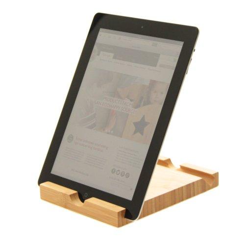 Soporte Bambú para Tablet, el Teléfono Celular, Soporte a Teléfonos Inteligentes y Lectores Electrónicos (con ángulo ajustable en 2 posiciones)