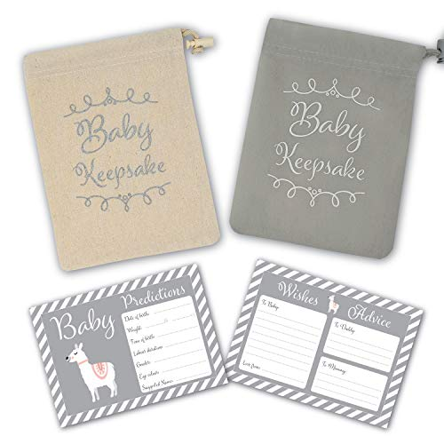 Baby Shower Game - 30 Baby Prediction/Advice/Wishes Cards - Includes Keepsake Pouch in Grey or Canvas for Boy, Girl, Neutral/Unisex Baby Shower Party/Maternity Gift/Guestbook/Gender Reveal Party