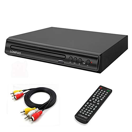 LONPOO Compact Region Free CD DVD Player for TV with HD Upscaling, Build-in PAL/NTSC System, Small Design, USB Port, Remote Control, RCA Audio Cable
