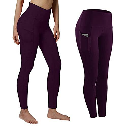 BAIDEFENG Alta Mallas Pantalones Deportivos Leggins,Medias elásticas de Gran tamaño, Pantalones de Yoga con Bolsillos-Violeta_XXL,Mujer Pantalones De Yoga Deportivos