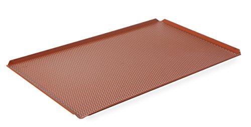 HENDI Backblech mit Teflon Antihaft Beschichtung, lochbackblech, lochblech, Temperaturbeständig bis 250°C, mit 4 Aufkantungen, Gelocht, GN 1/1, 530x325x(H)10mm, Aluminium