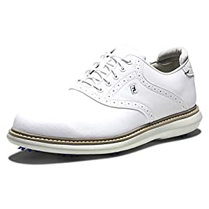 FootJoy Men's Traditions Golf Shoe, White/White, 12