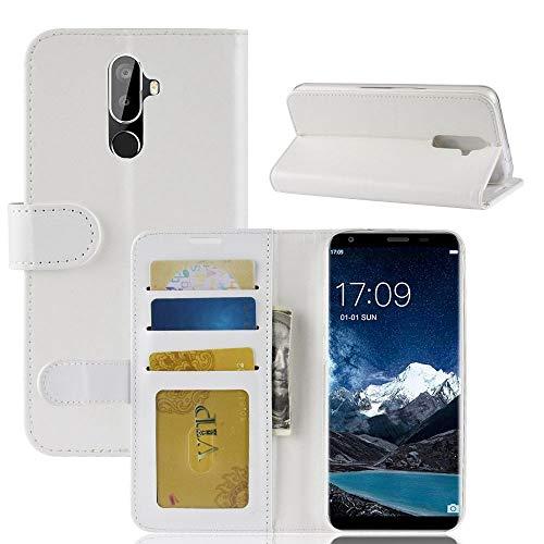 tinyue® Für Oukitel K5 Hülle, Ultradünne PU-Ledertasche Flip Wallet Cover, R64 strukturierte Business Style Ledertasche, Weiß