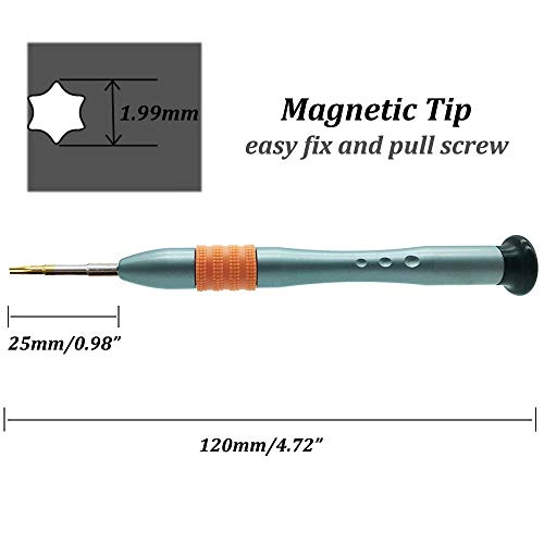 T7 Torx Screwdriver, Torx T7 Screwdriver, S2 High Alloy Steel Head, Magnetic Tip, Rotating Cap, Anti-slip Grip, 6 Point Star Screwdriver for Toy Computer Phone Electronics Device Maintenance