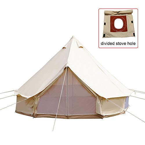 PlayDo 4-Season Waterproof Cotton Canvas Bell Tent Family Camping Yurts Tent Without Roof Stove Jack Hole for Camping Hunting Hiking Party
