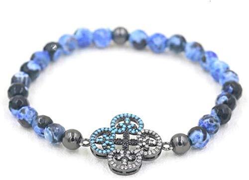 XIAOGING Pulsera de piedra Mujer, 7 chakra natural azul marino azul células fósiles de piedra brazalete hueco hueco de cuatro hojas joyería de joyería yoga energía reza encanto difusor mujeres pulsera