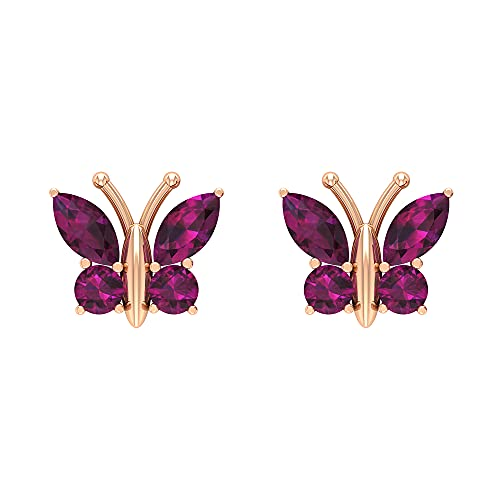 Rosec Jewels 14 quilates oro rosa redonda marquesa Red rodolita