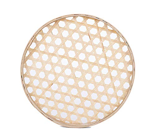 (Only by Bulk)100% Handwoven Flat Wicker Round Fruit Basket Woven Food Storage Weaved Shallow Tray Bin Vegetable Organizer Holder Bowl Decorative Rack Display (Only More Than 5Pcs) (22cm/8.6')