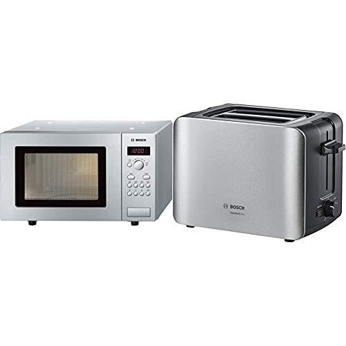 Bosch HMT75M451 Serie 2 Freistehende Mikrowelle / 800 W / 17 L/Drehteller 24,5 cm/Türanschlag Links & TAT6A913 ComfortLine Kompakt-Toaster, Auftau/Aufwärmfunktion, versenkbarer Brötchenaufsatz