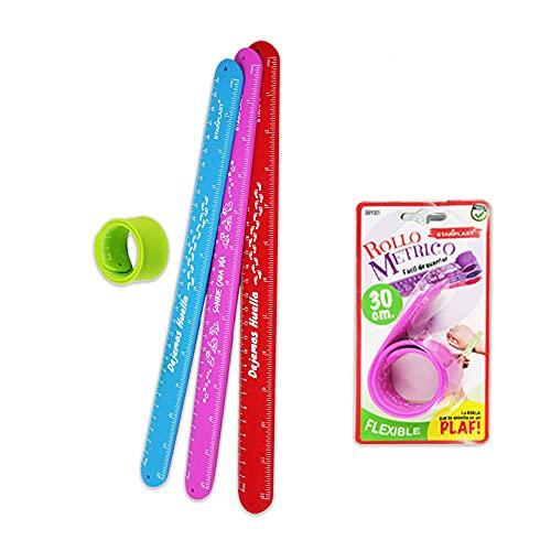 REGLA PULSERA ROLLO MÉTRICO STARPLAST - Rollo métrico, regla pulsera, flexible, para niños, uso escolar - 30cm Rosa