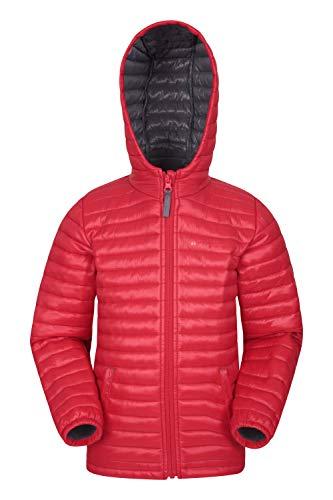 Mountain Warehouse Polar Kids wattierte Jacke - Wasserabweisende Pufferjacke für Mädchen und Jungen, 2 Vordertaschen, Mikrofaser-Winterjacke - ideal für unterwegs Rot 98 (2-3 Jahre)