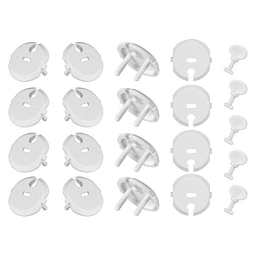 [36 Piezas] Yosemy Seguridad Enchufes, 30 Piezas Protector Enchufes Bebes Proteccion y 6 Piezas Llaves para Los Protectores de Enchufe, Blanco