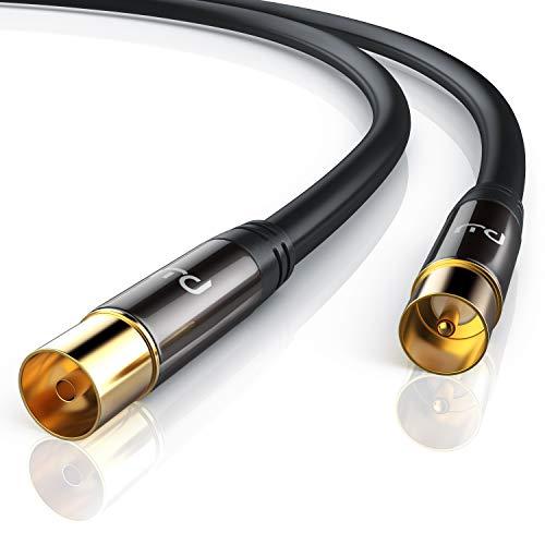 CSL - 2m Antennenkabel HDTV 135dB 75 Ohm - Premium Koaxialkabel - FullHD 4k UHD - Koax Stecker auf Koax Kupplung - DVB-T und DVB-T2 DVB-C DVB-S DVB-S2 DAB DAB - Abschirmmaß 135dB