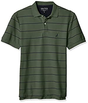 Nautica Men s Classic Short Sleeve Striped Polo T-Shirt Pine Forest Large